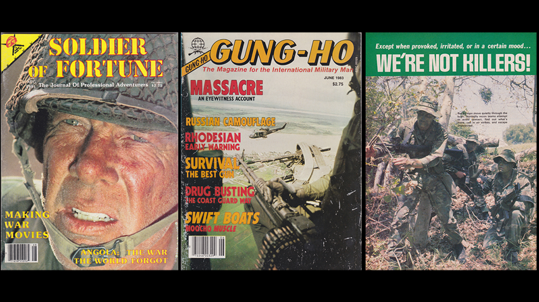 Cool covers of SOF and Gung-HO show soldiers in combat and Hollwood!