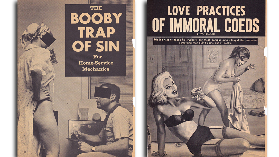 Black and white covers of vintage men's pulp magazines.