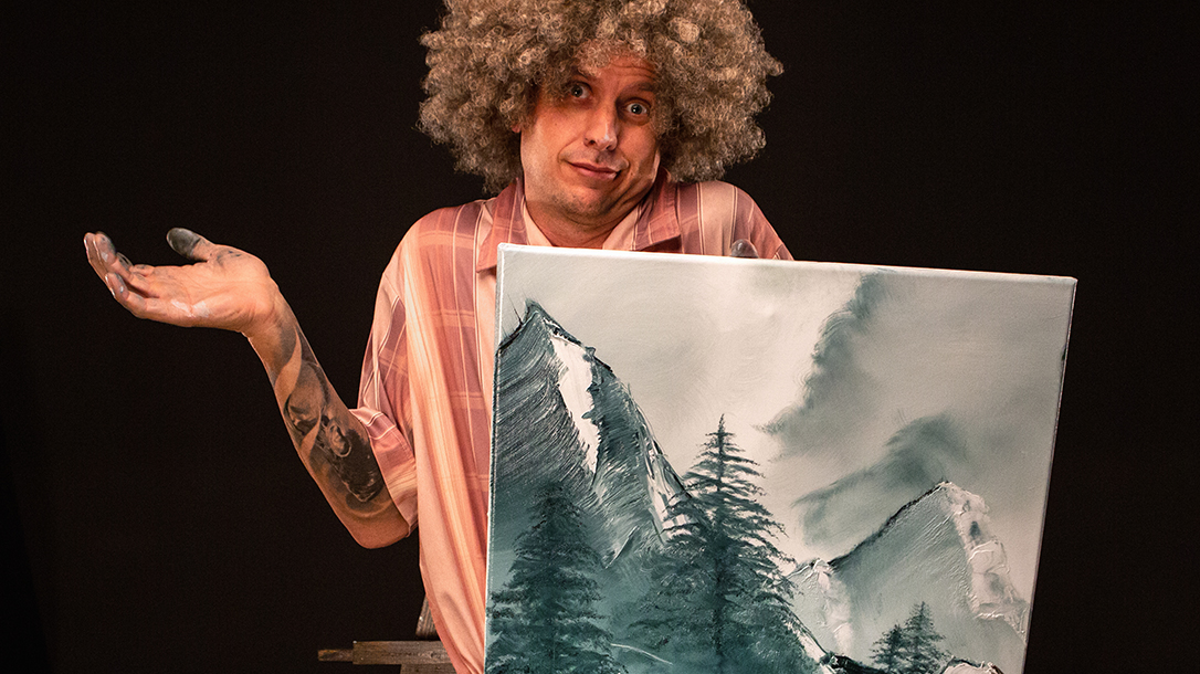 Ben showing his Bob Ross inspired painting.
