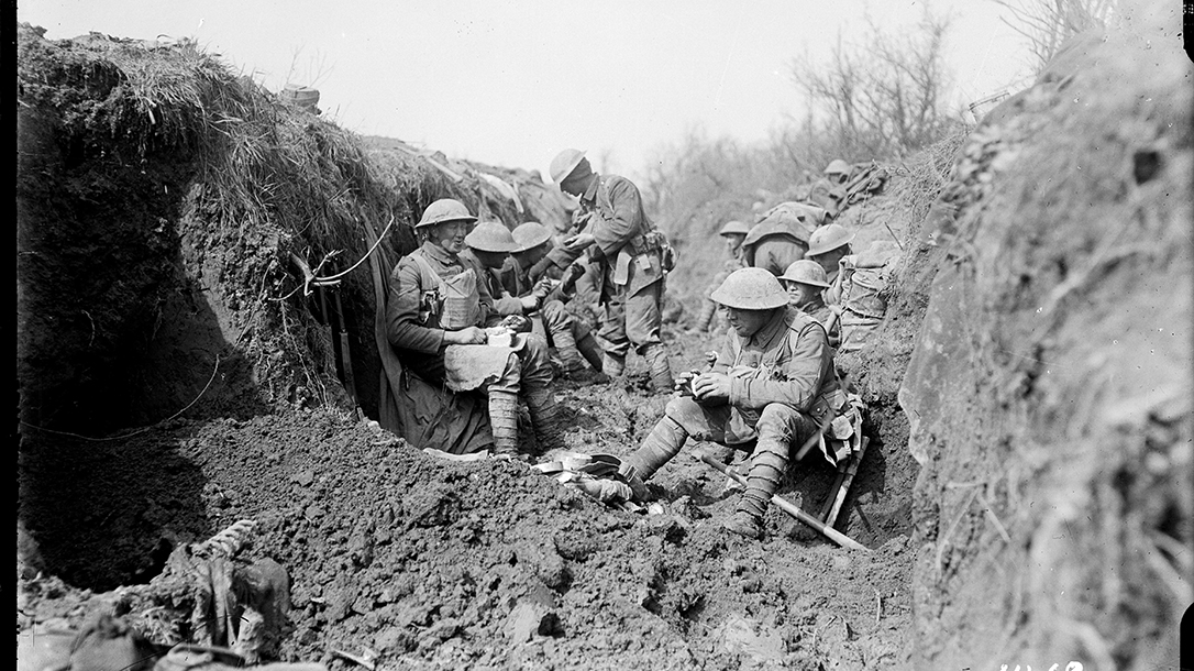 Troops in the trenches, only a few yards from the enemy.