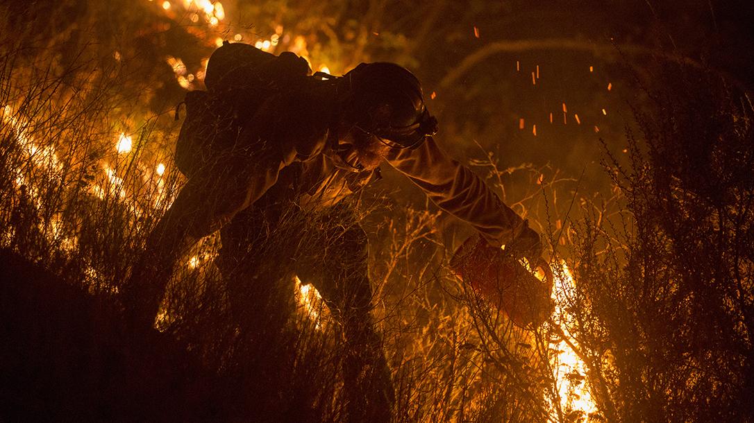 Smokejumper Battling A Fire