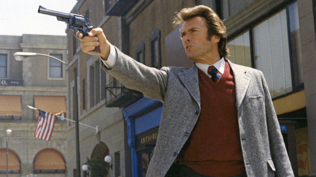 Clint Eastwood in his famous role of Dirty Harry.