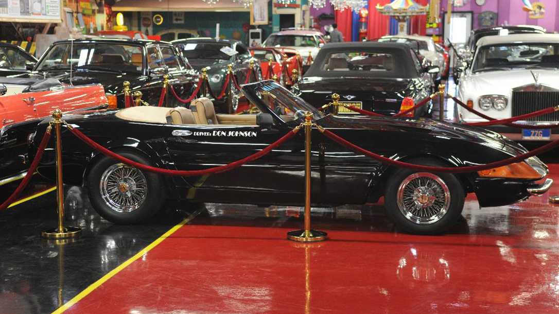 The 1972 Ferrari Daytona Spyder Sits in a showroom in Volo, Illinois.