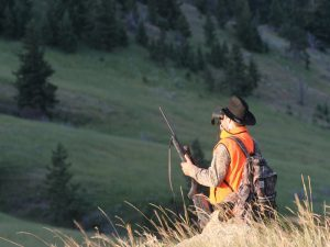 Rifle hunter on mountain hunting for dollars