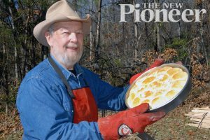 The author shows off a pan of Cowboy Biscuits. They are easy to make and delicious.