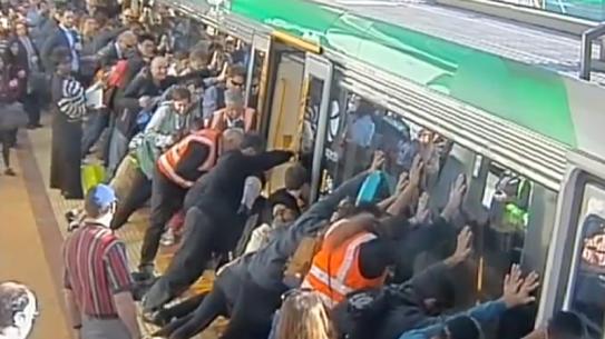 Australian commuter train leg stuck