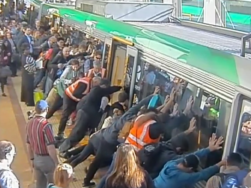Australian commuter train leg stuck