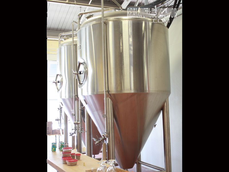 West Sixth's secondary fermentation tank is a cylindroconical fermenter that is shaped like an inverted cone to make yeast extraction easier.