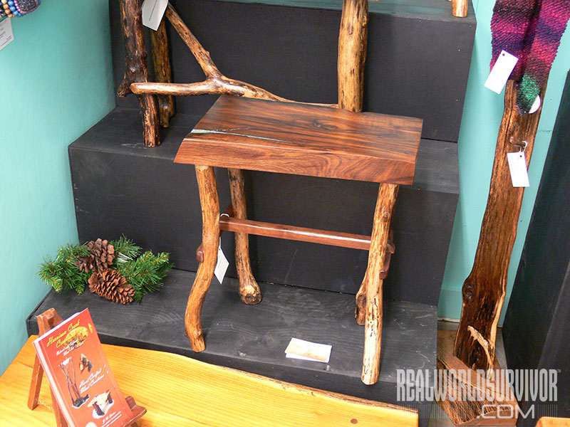 Rustic furniture wooden stool