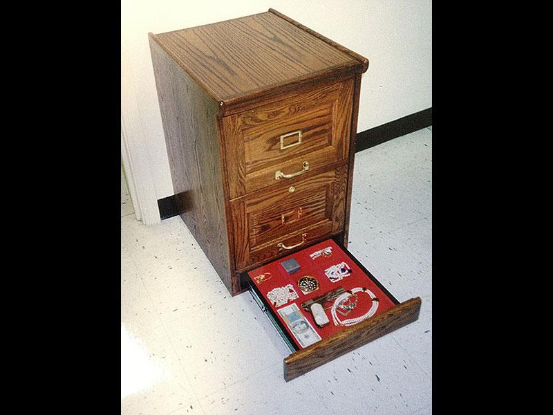 Hidden Safes Oak File Cabinet