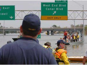 rising flood water, hurricane, emergency