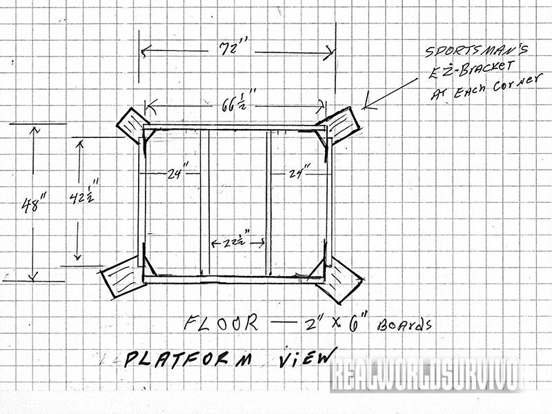 Platform view blueprint of the buck tower.