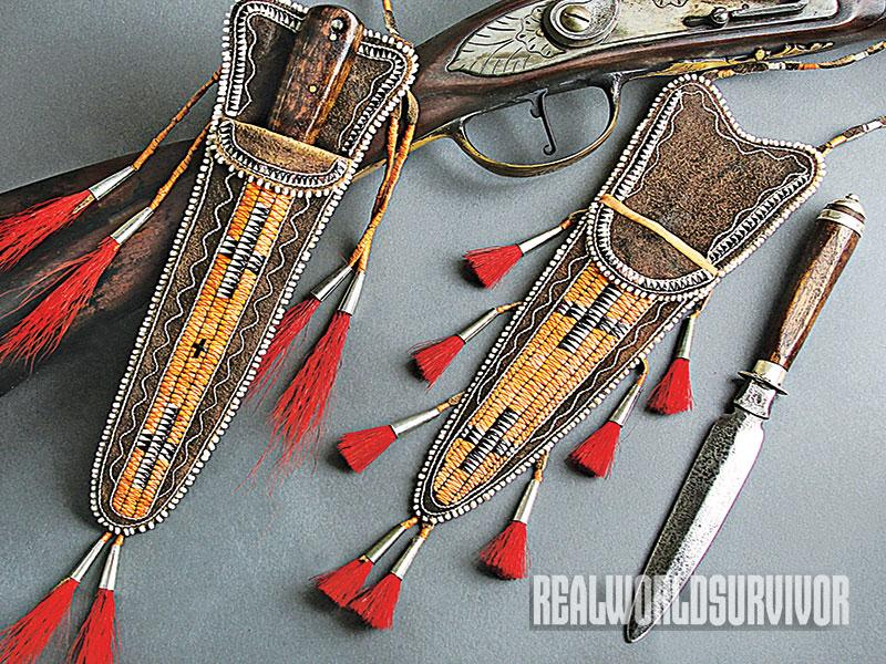 Shawn Webster quilled neck sheaths for hand-crafted knives.