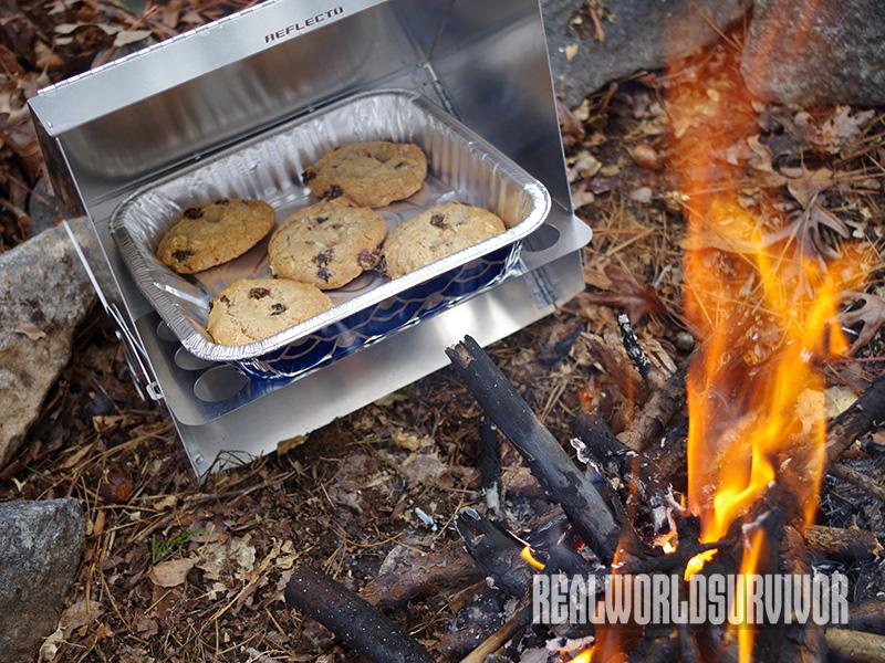 Old-Fashioned Oatmeal Raisin Cookies made in a reflector oven.