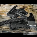 These tomahawks are both rugged and made from SK5 black-powder-coated steel.