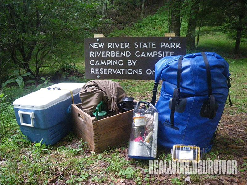 Modern and old style camping gear.