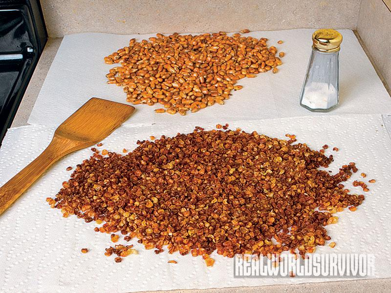 Spread parched corn on paper towels to cool when done.