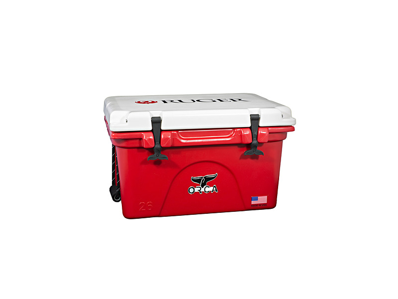 White and Red 26 Quart Cooler