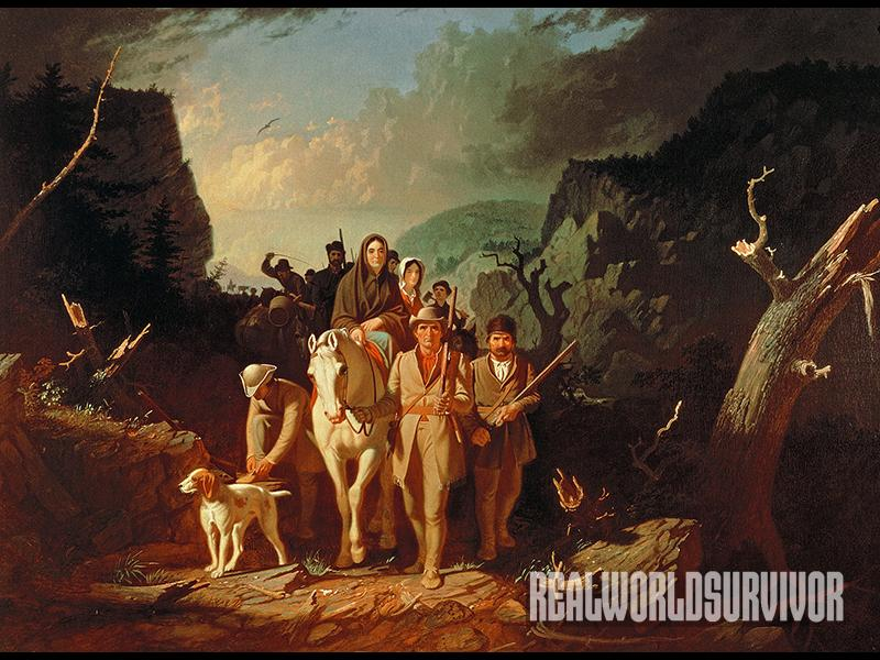 George Caleb Bingham's Daniel Boone Escorting Settlers through the Cumberland Gap (1851– 52) is a famous depiction of Boone helping settle the American frontier with his trusty musket.
