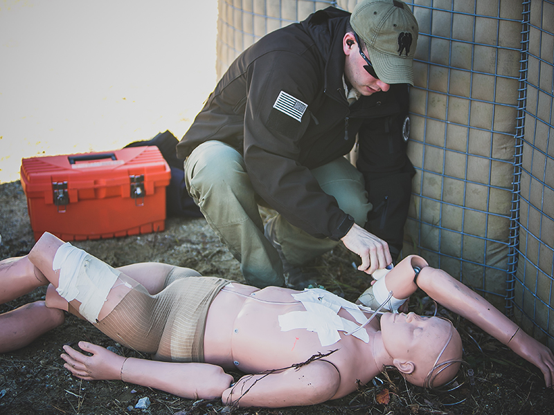 Practice life-saving skills on a dummy