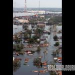 Cyclone in Louisiana, Hurricane Katrina, left many homes destroyed.