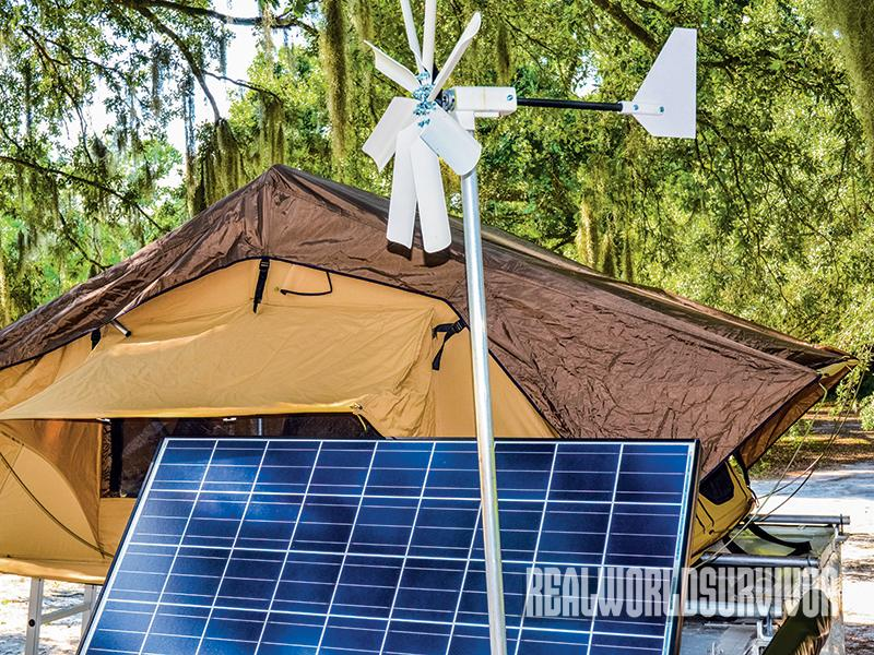 Use a wind turbine in conjunction with your Bug-Out survival trailer.