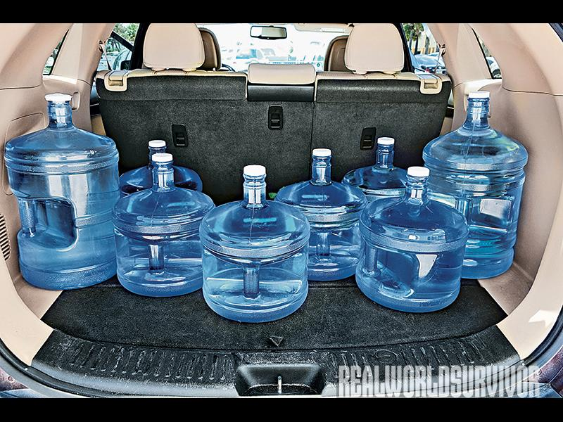 Store as much water as your survival group has space for in a safe place.