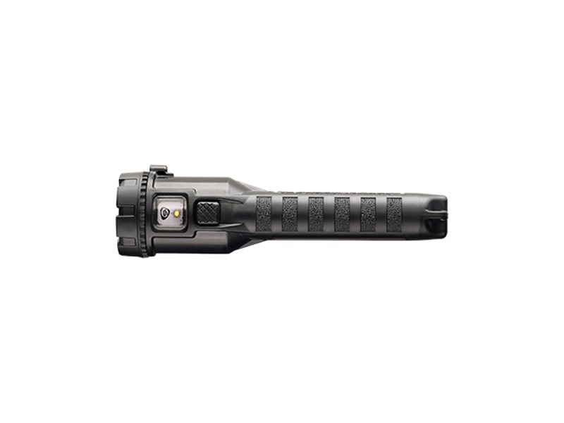 A bottom view of streamlight's 3AA ProPolymer Dualie in black.