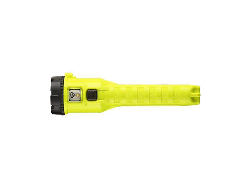 A bottom view of Streamlight's 3AA ProPolymer Dualie in yellow.