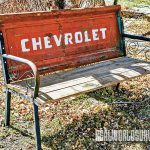 This Chevrolet bench is treasure to someone.
