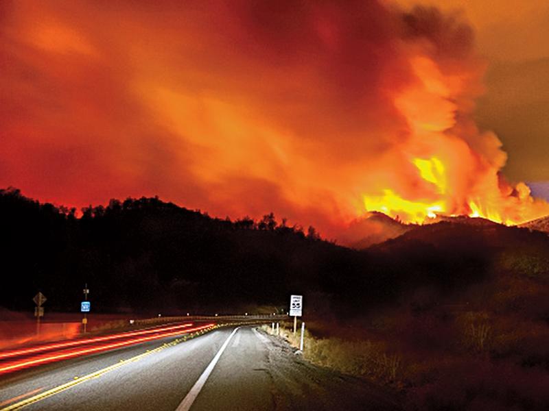 Roadside wildfire