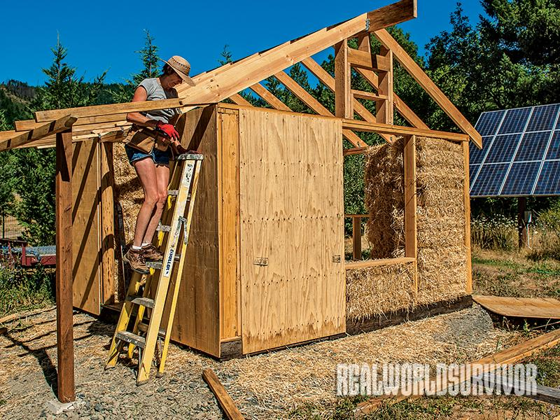Straw bales serve as insulation for the tiny house.