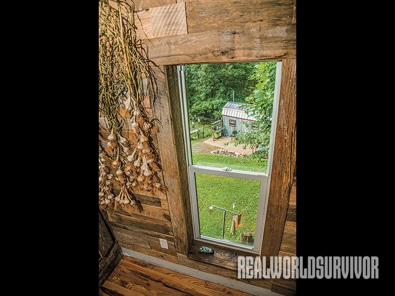 A window view to the Berzins' tiny house
