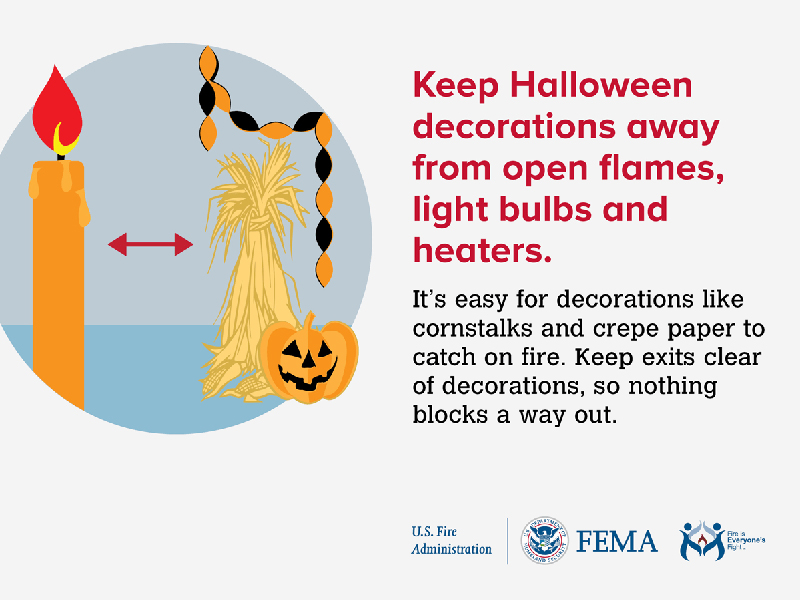 Halloween decorations fire safety tip