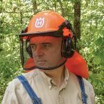 Helmet for protection when using a chainsaw