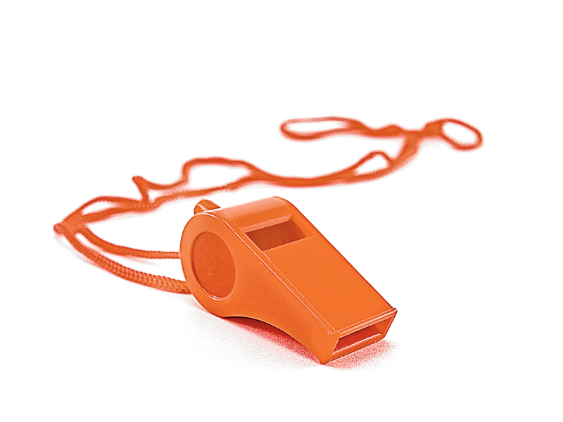 Use a whistle to get help during an emergency
