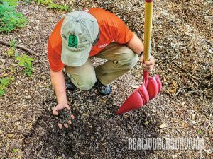 Sean Gere using woodchips for permaculture in his forest farm.