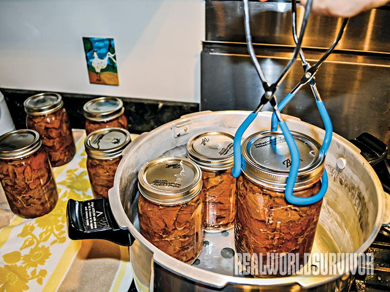 Use jar lifter to pick up pressure canned venison