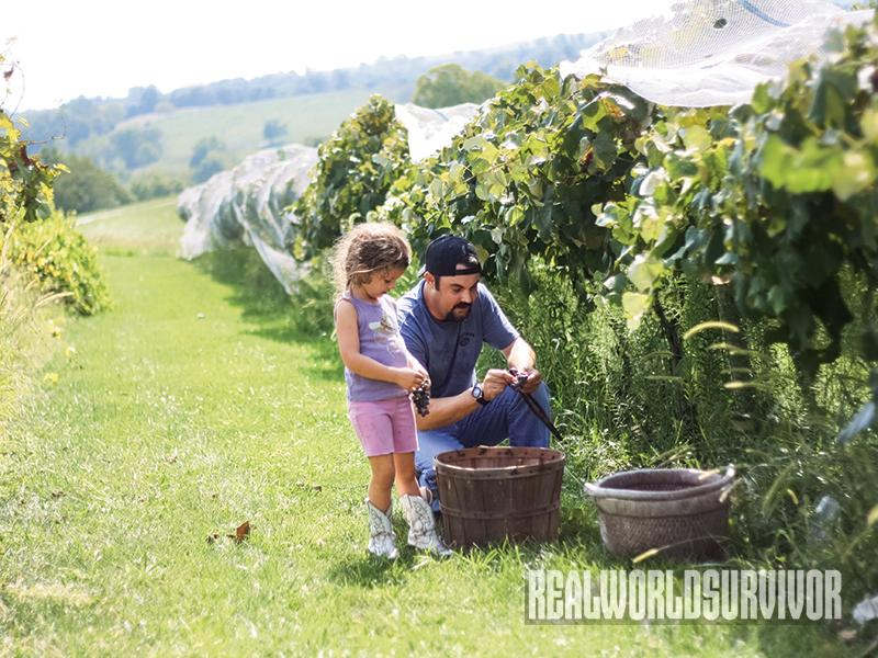 Author and daughter make corn wine.