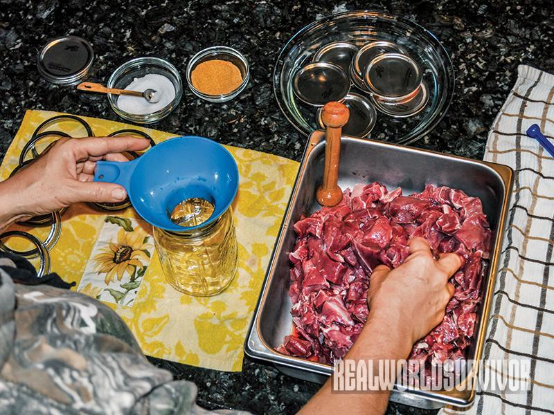 Venison pressure canning jar prep