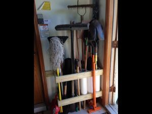 home organizing project, organized garden tools