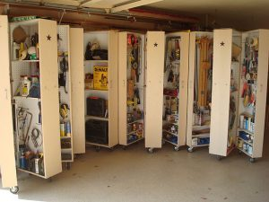 home organizing project, rolling garage cabinets