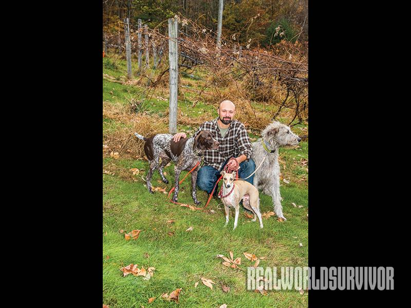 Paul Deninno and his dogs at BashaKill Vineyards