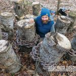 Jesse Frost with oyster mushrooms, farming, compost, live stock, harvest, inoculation, protein,