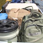 Canoe hauling gear packed