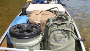 Canoe hauling gear packed