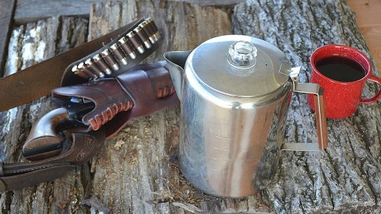 Cowboy Coffee six shooter, cup of coffee