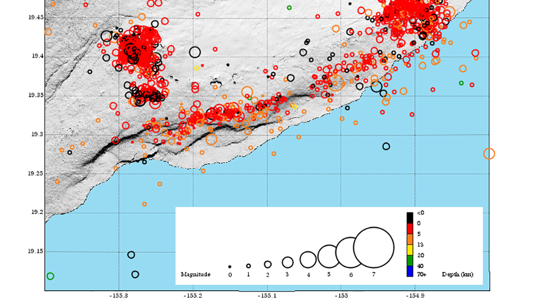 Kilauea volcano eruption, earthquake map