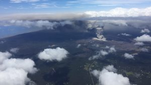 Kilauea eruption, ash plume, 9,500 feet.