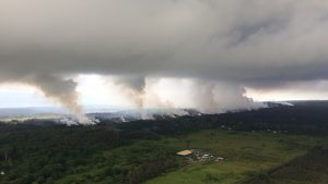 Kilauea Eruption-Sulfur Dioxide Plumes, rising from fissures, cloud deck